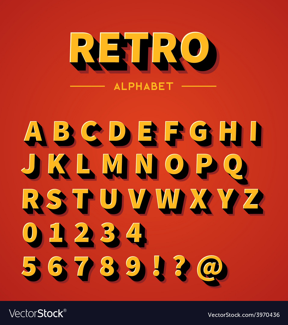 Retro alphabet set