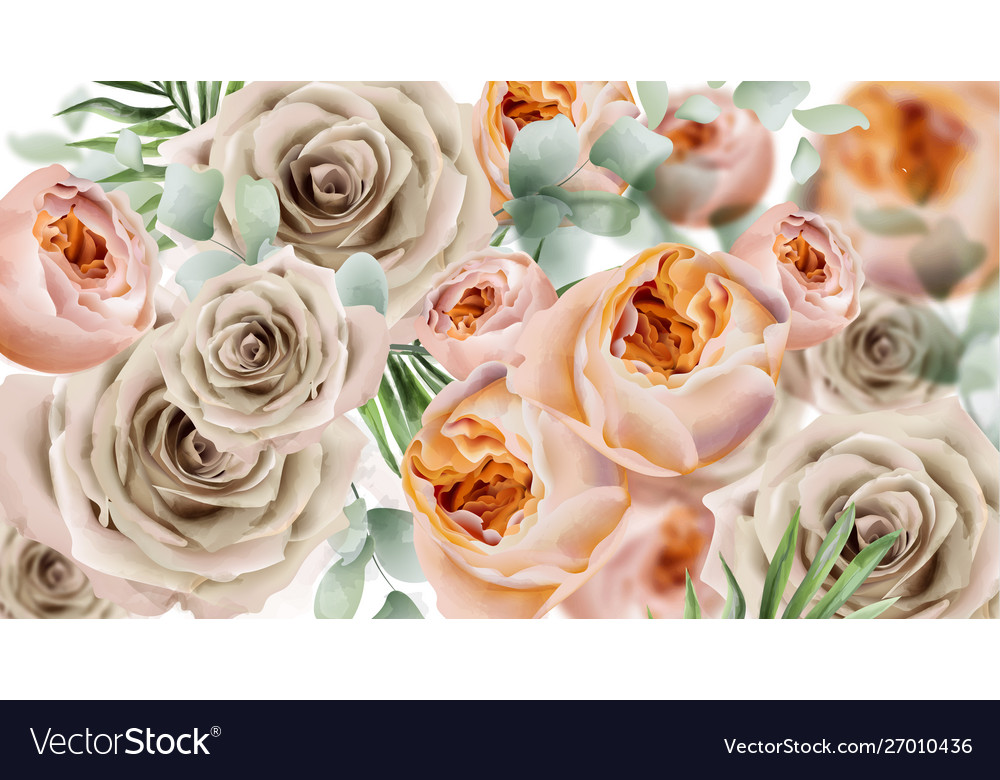 Roses watercolor banner delicate flowers pattern