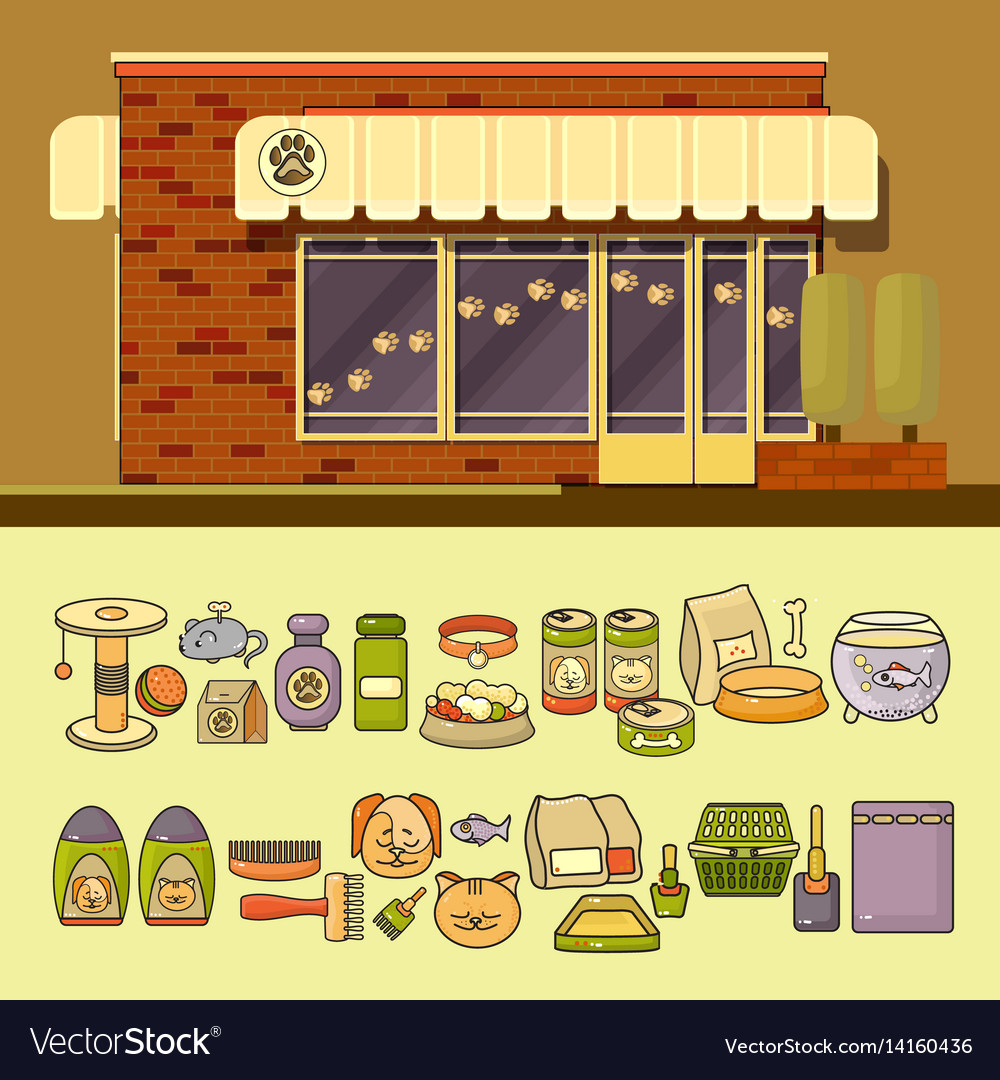 Shop and set of cute colorful pet icon