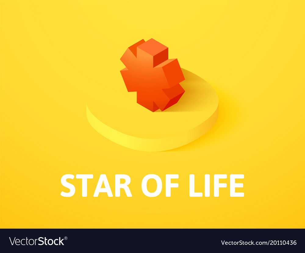 Star of life isometric icon isolated on color vector image