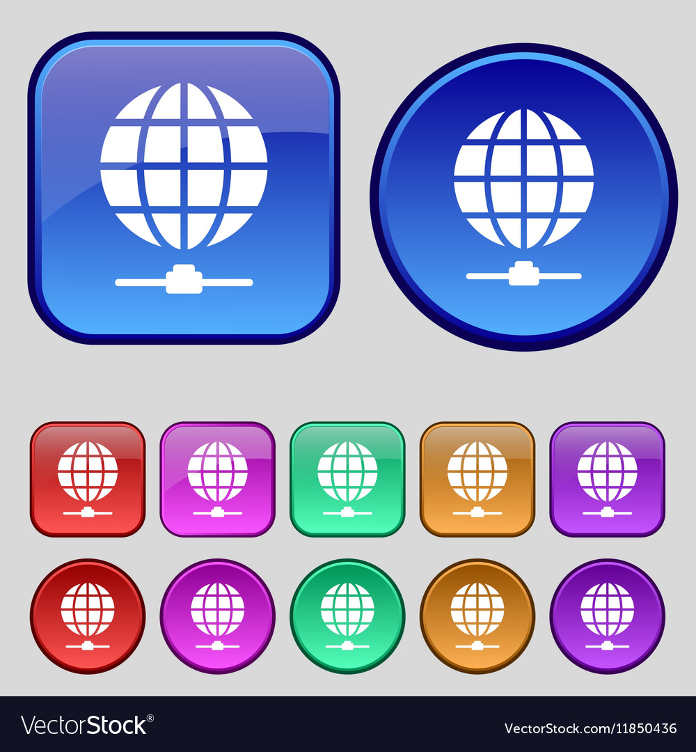 Website Icon sign A set of twelve vintage buttons vector image