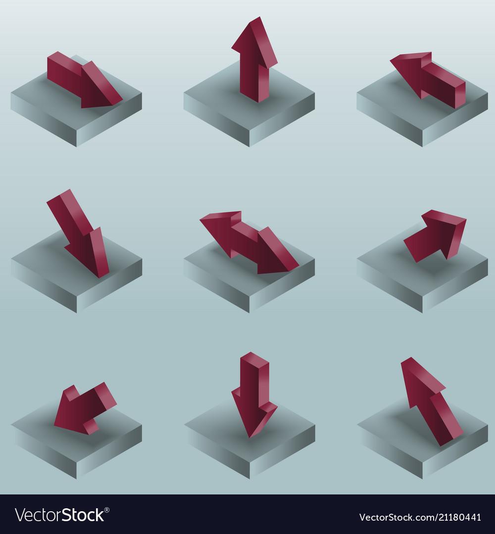 Arrows color gradient isometric icons