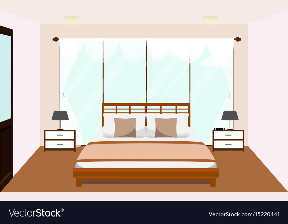 Bedroom interior with furniture glass window