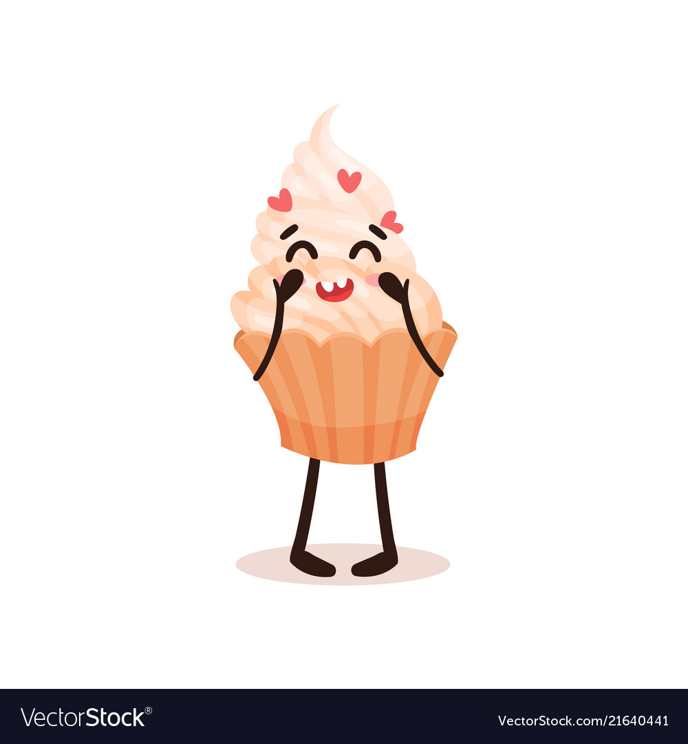 Cute cupcake with funny face humanized dessert