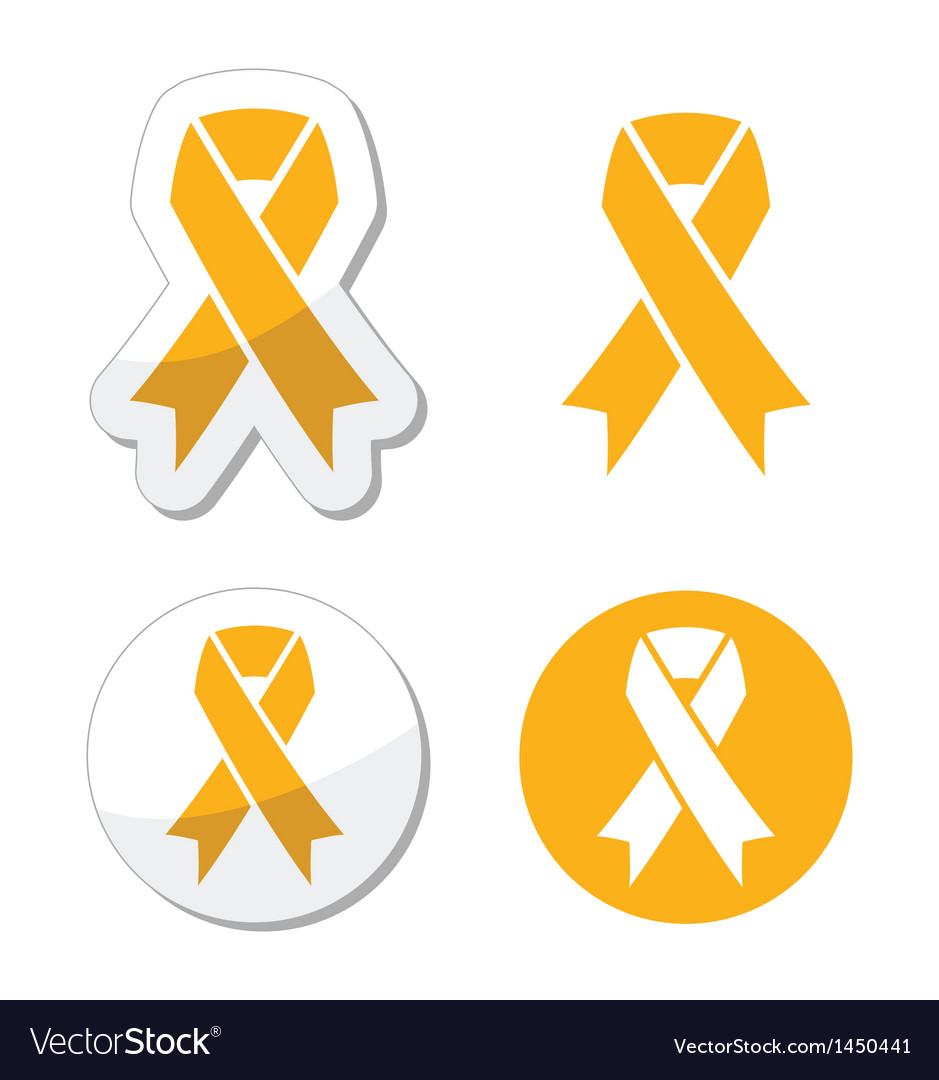 Gold Ribbon Childhood Cancer Symbol Royalty Free Vector