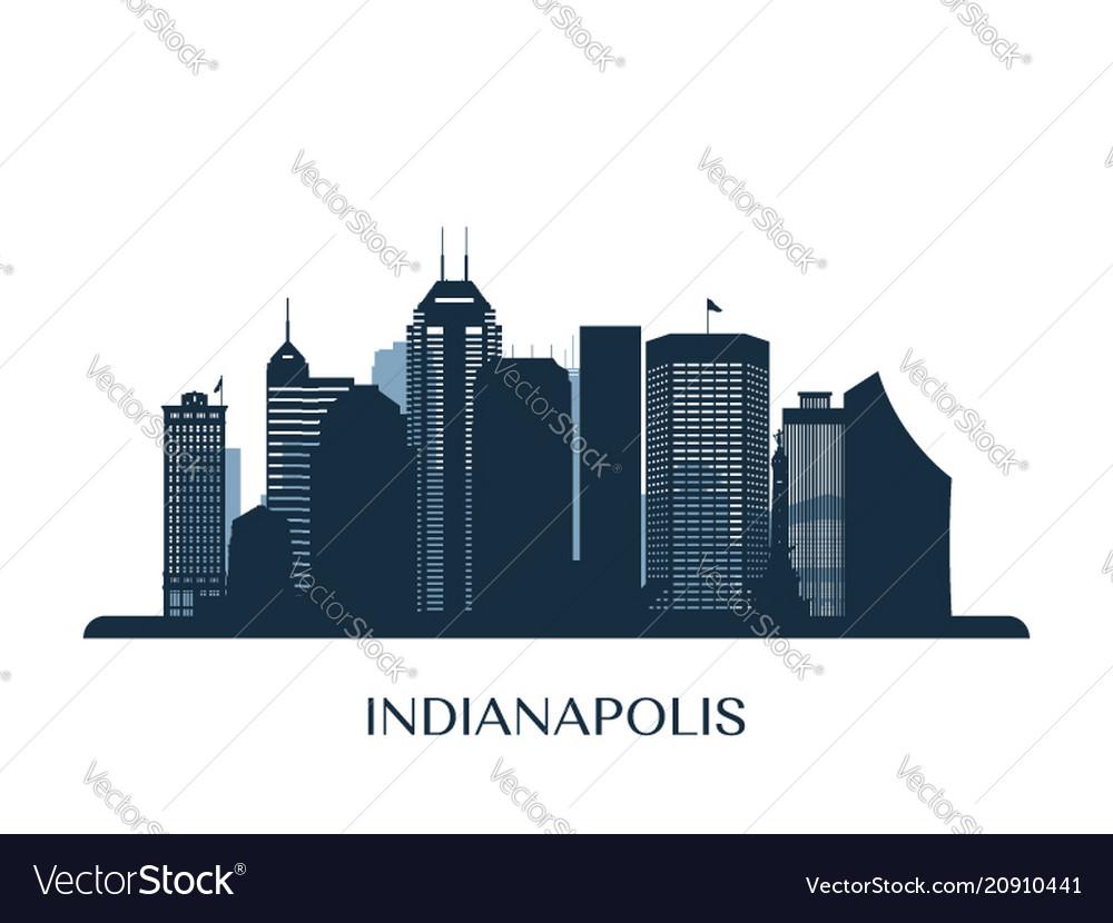 Indianapolis skyline monochrome silhouette