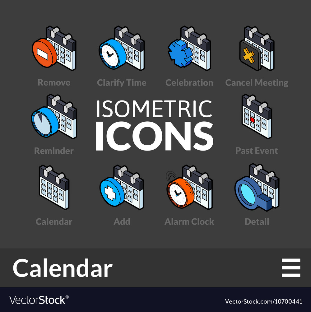 Isometric outline icons set 39
