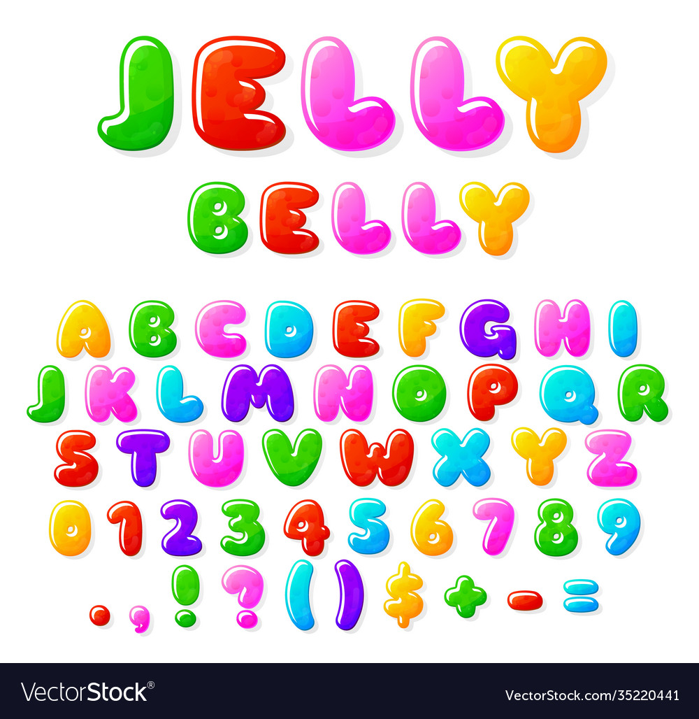 Jelly alphabet fruit candy font typographics