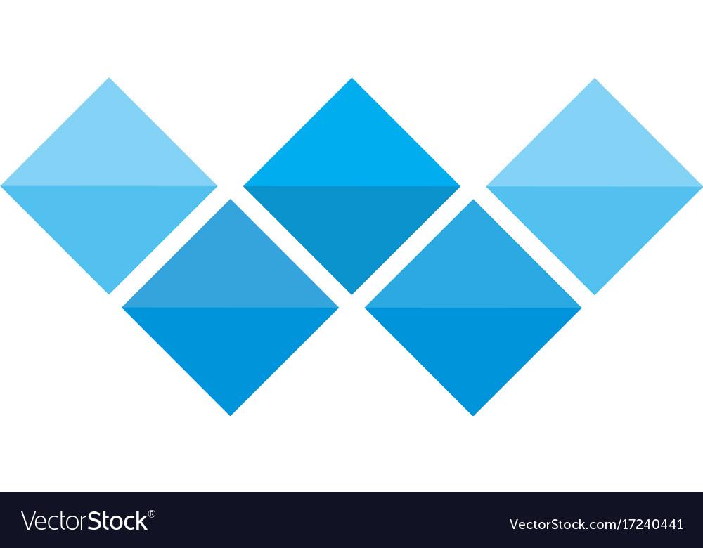Letter w logo alphabet mosaic icon set