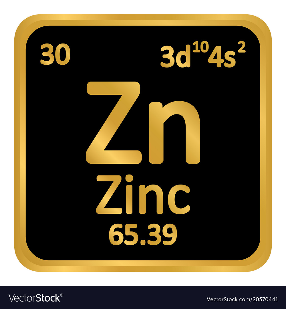 Periodic Table Element Zinc Icon Royalty Free Vector Image