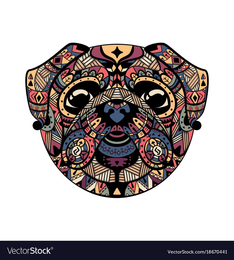 Pug head entangle stylized