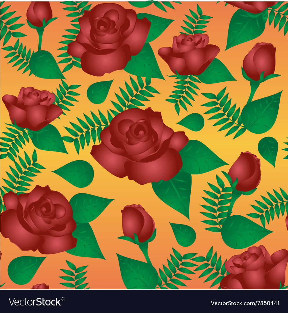 Seamless floral pattern with of vinous roses