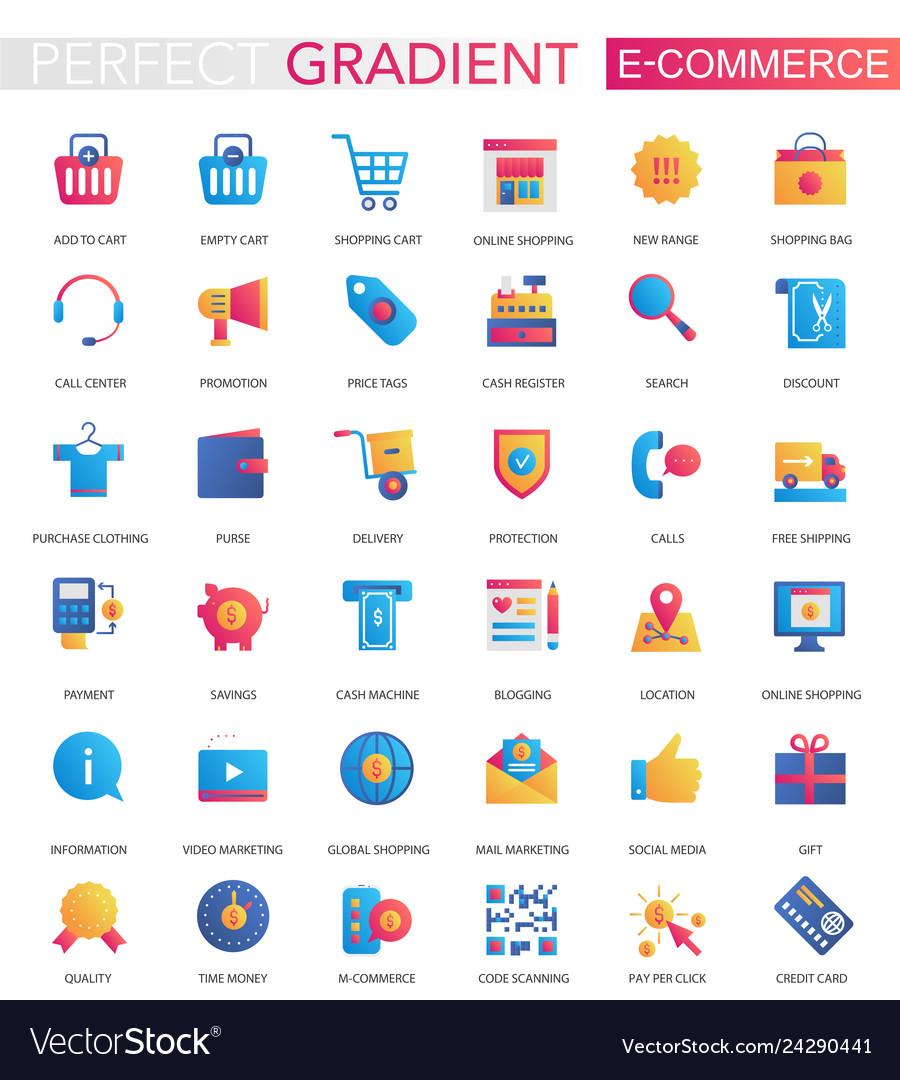 Set of trendy flat gradient e-commerce