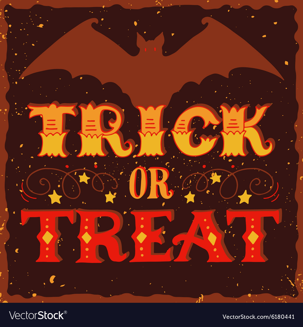 Trick or treat Halloween poster with hand
