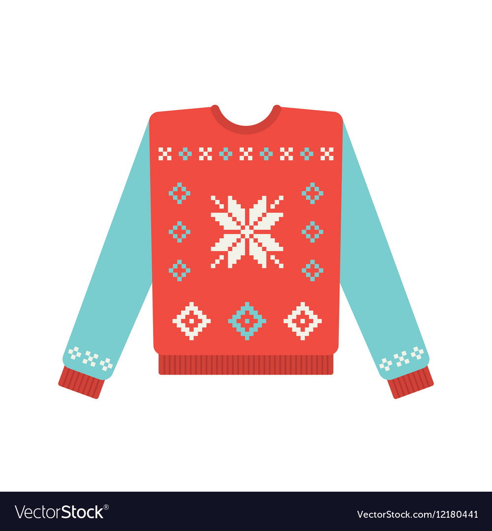 Ugly Christmas Sweaters Patterns.Ugly Christmas Sweater With Snowflake Pattern