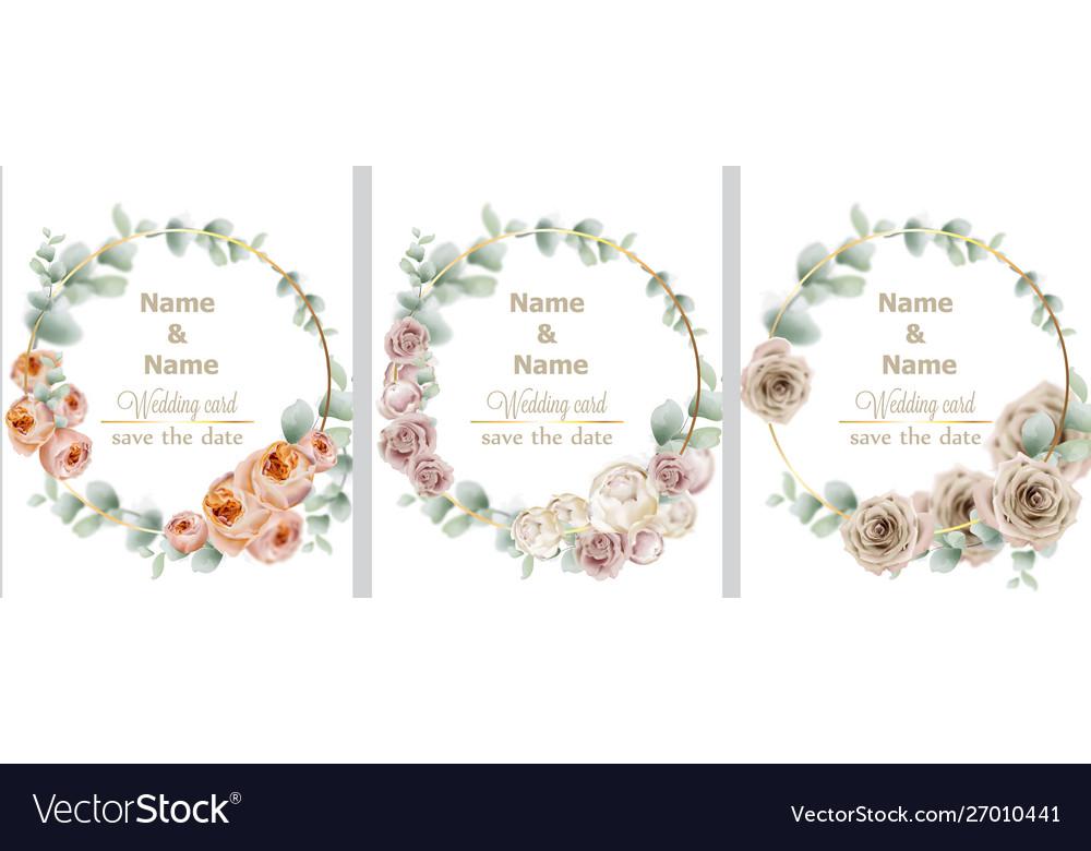 Wedding wreath set watercolor roses vintage