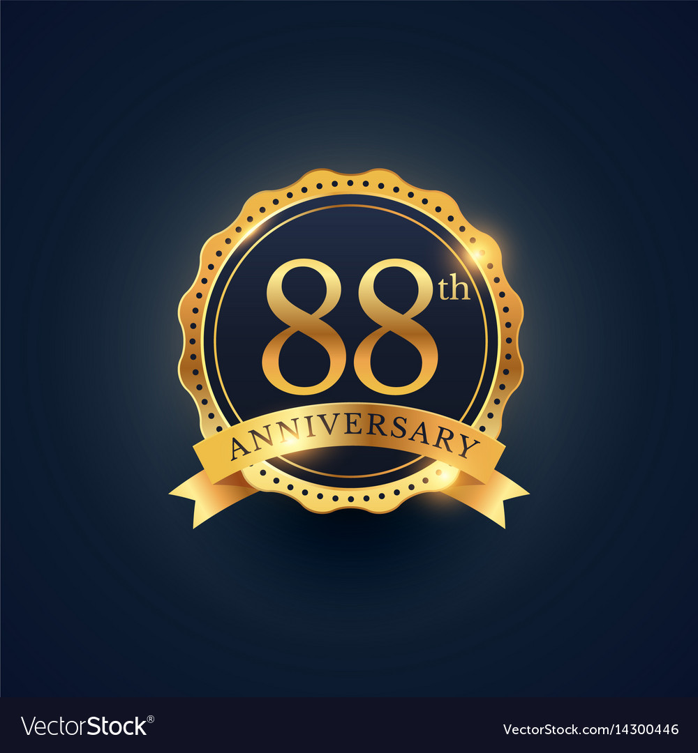 88th anniversary celebration badge label in vector image