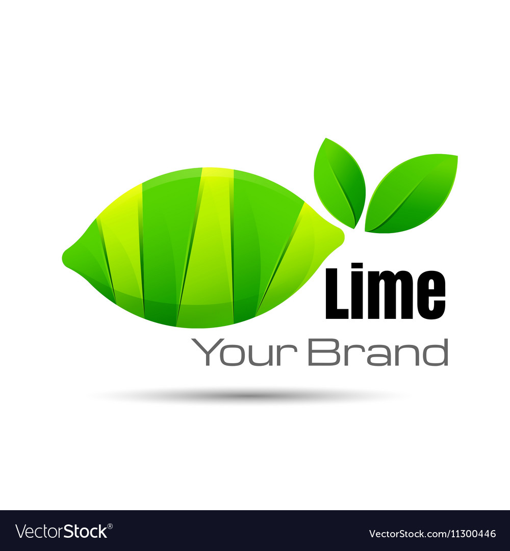 Bright cut green juicy lime slices Logo design