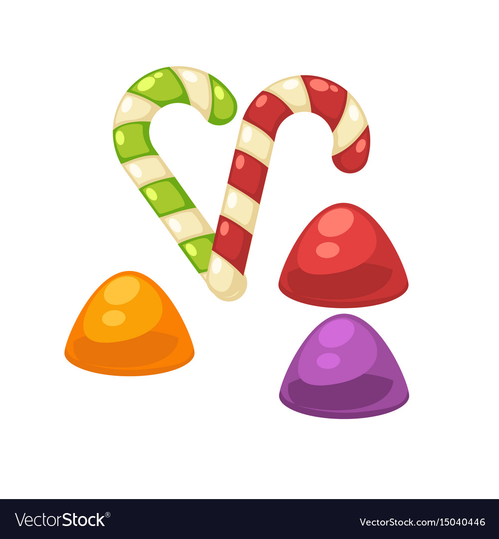 Candy canes and marmalade confectionery vector image