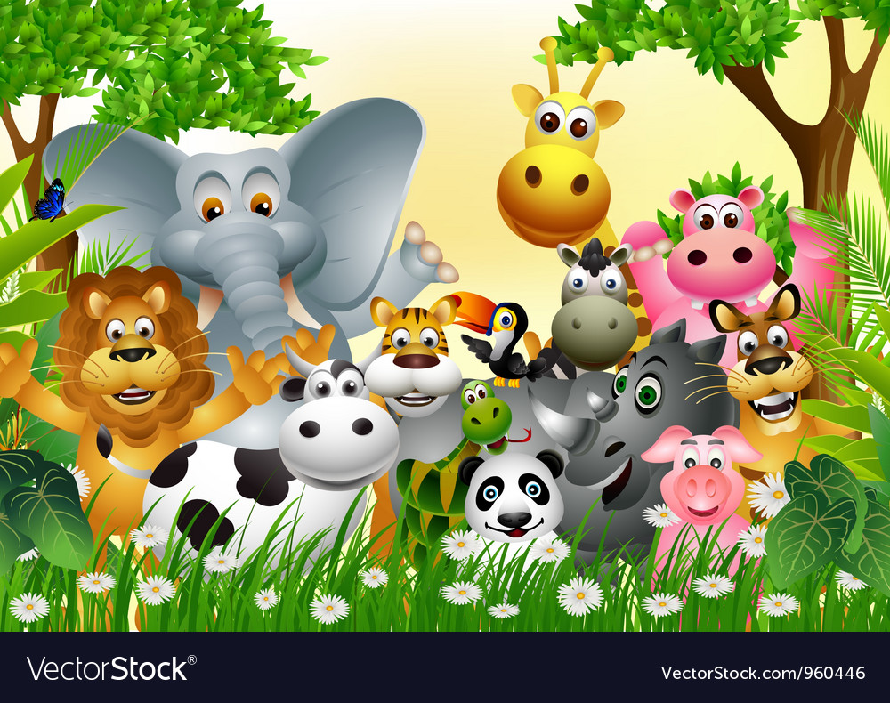 Funny animal cartoon in the jungle Royalty Free Vector Image