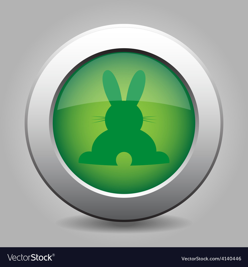 Green metal button with back Easter bunny vector image