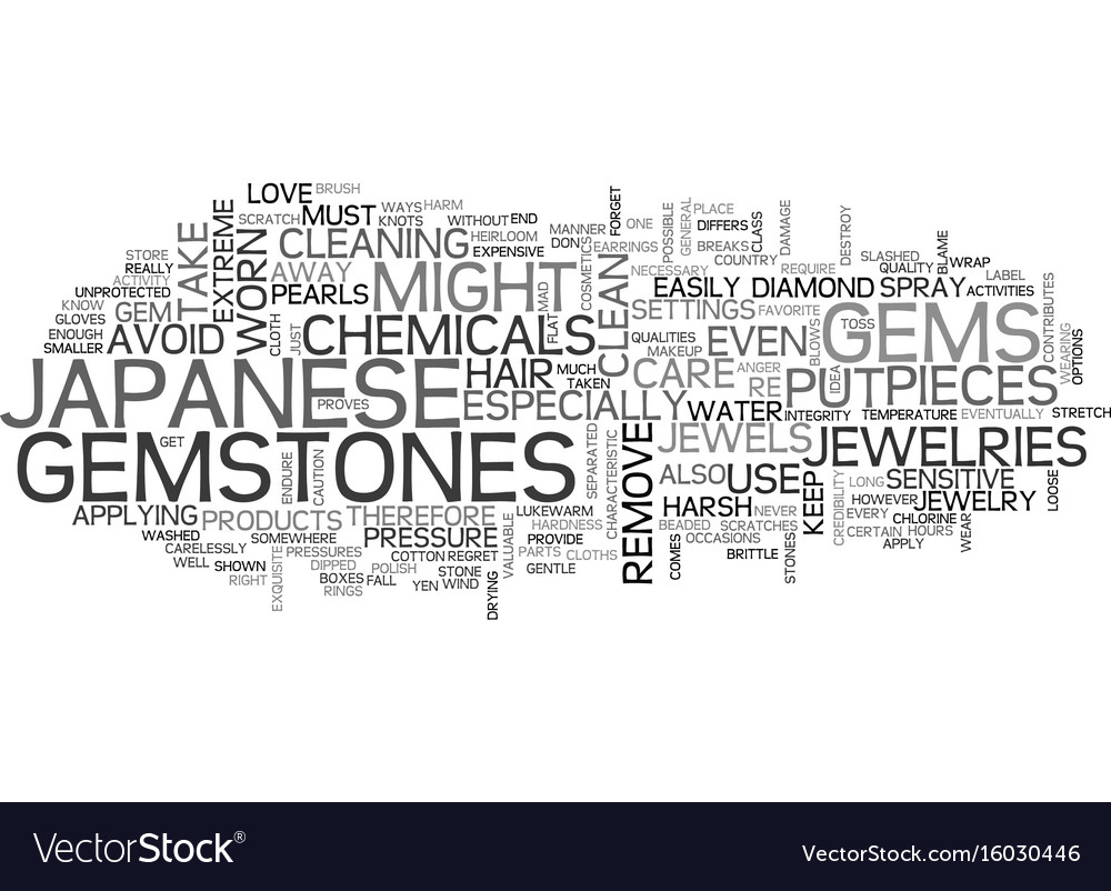 Japanese Gemstones Text Background Word Cloud Vector Image