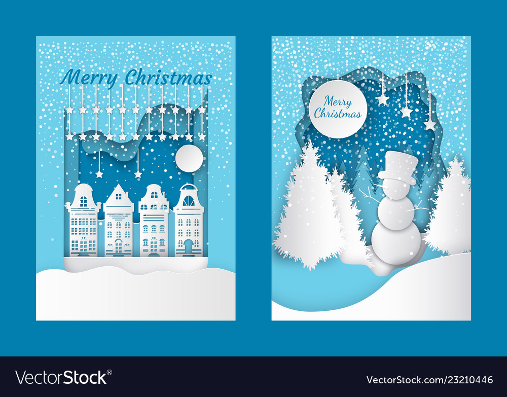 Merry christmas cutout greeting card city building