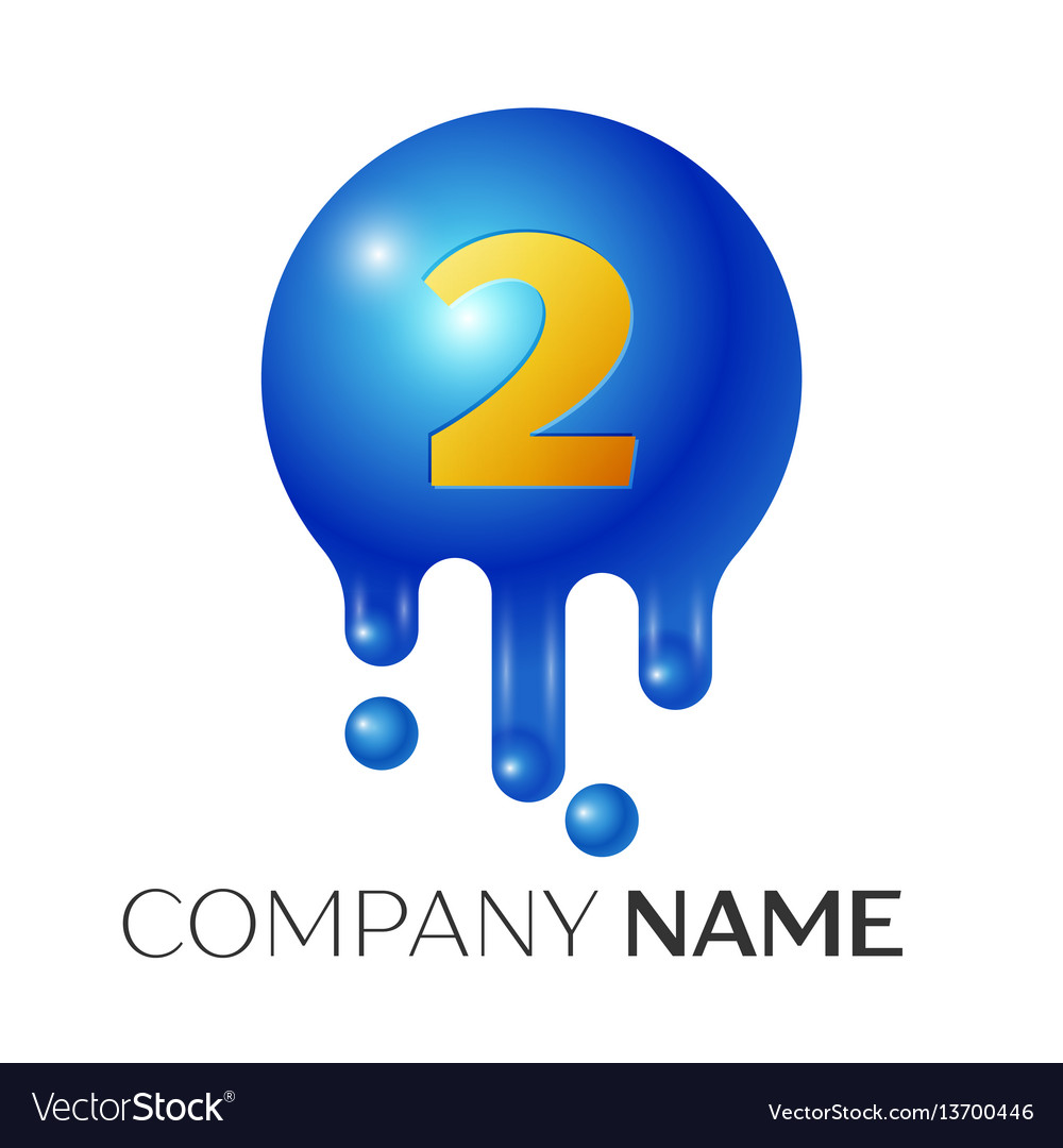 Number two splash logo blue dots and bubbles