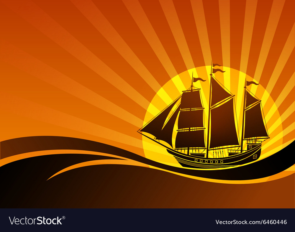 Sail ship background4 vector image