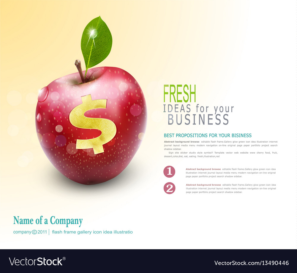 Template for business apple with cut dollar sign