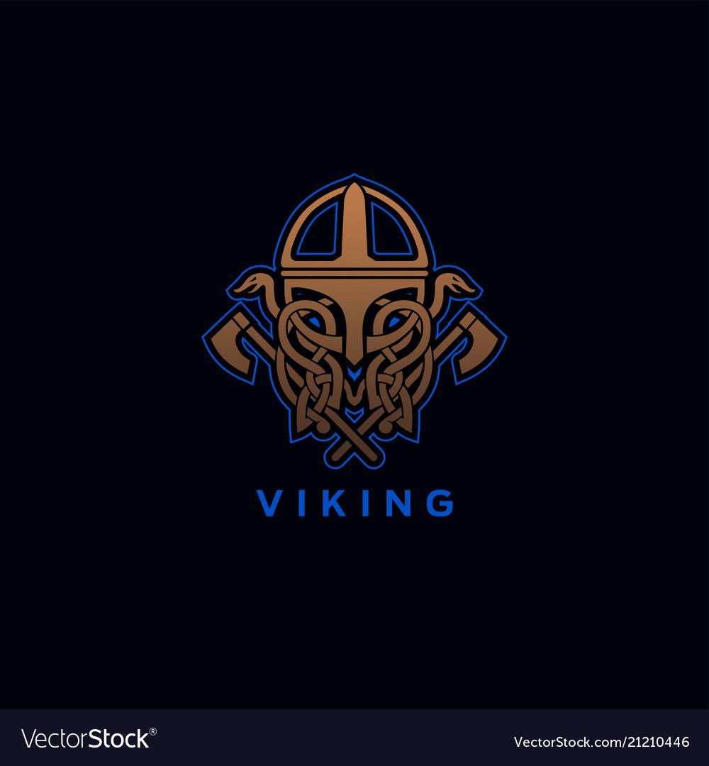 Viking helmet ornament vector image