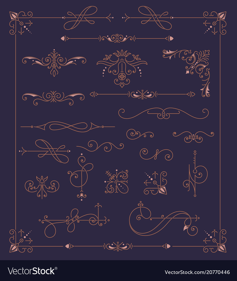 Vintage ornaments decorations design elements
