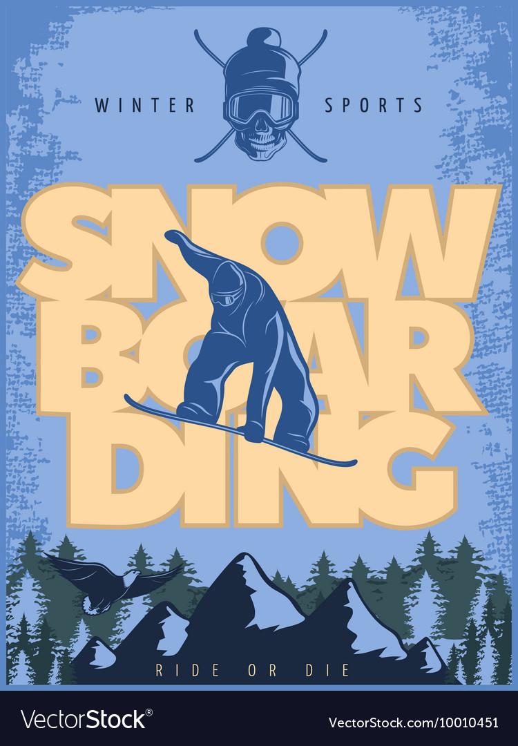 Blue Snowboarding Poster