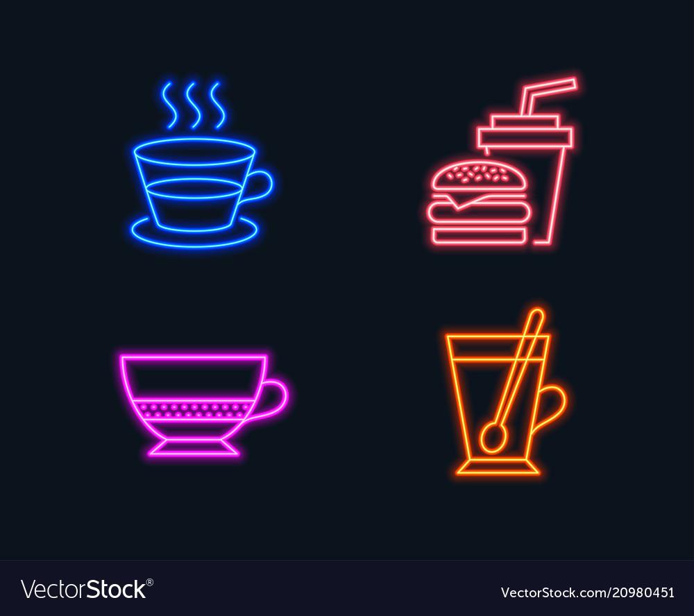 Coffee cup bombon coffee and hamburger icons tea