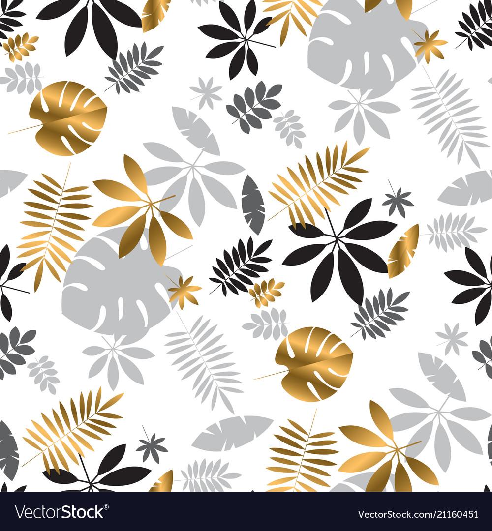 Geometric luxury jungle foliage seamless pattern