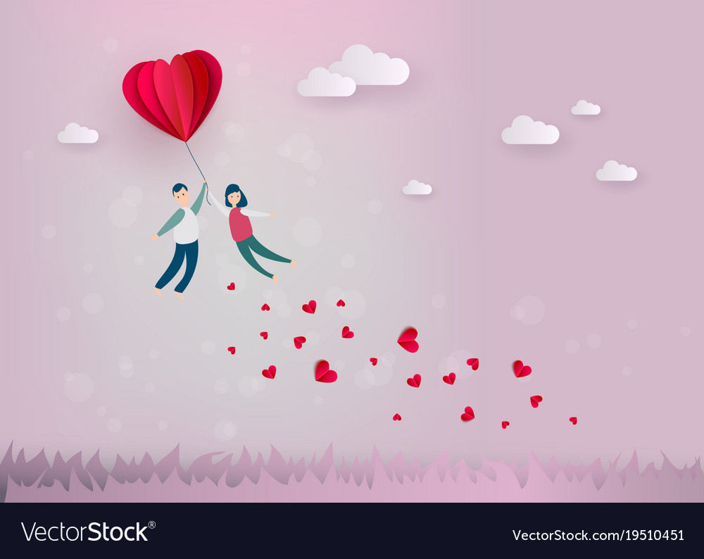 Happy valentines day paper heart couple