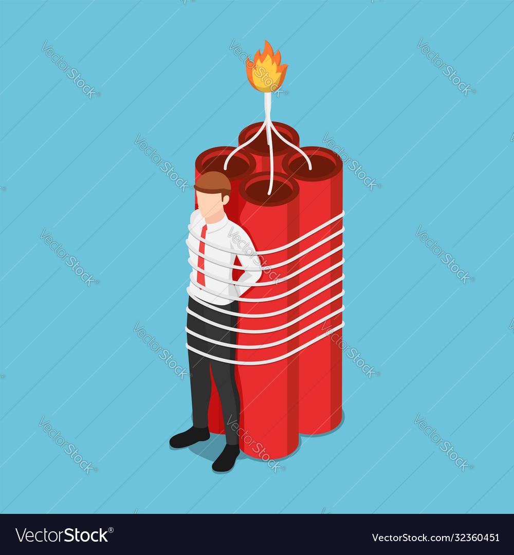 Isometric businessman tied with dynamite
