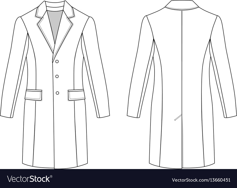Mans Coat Outlined Template Vector Image
