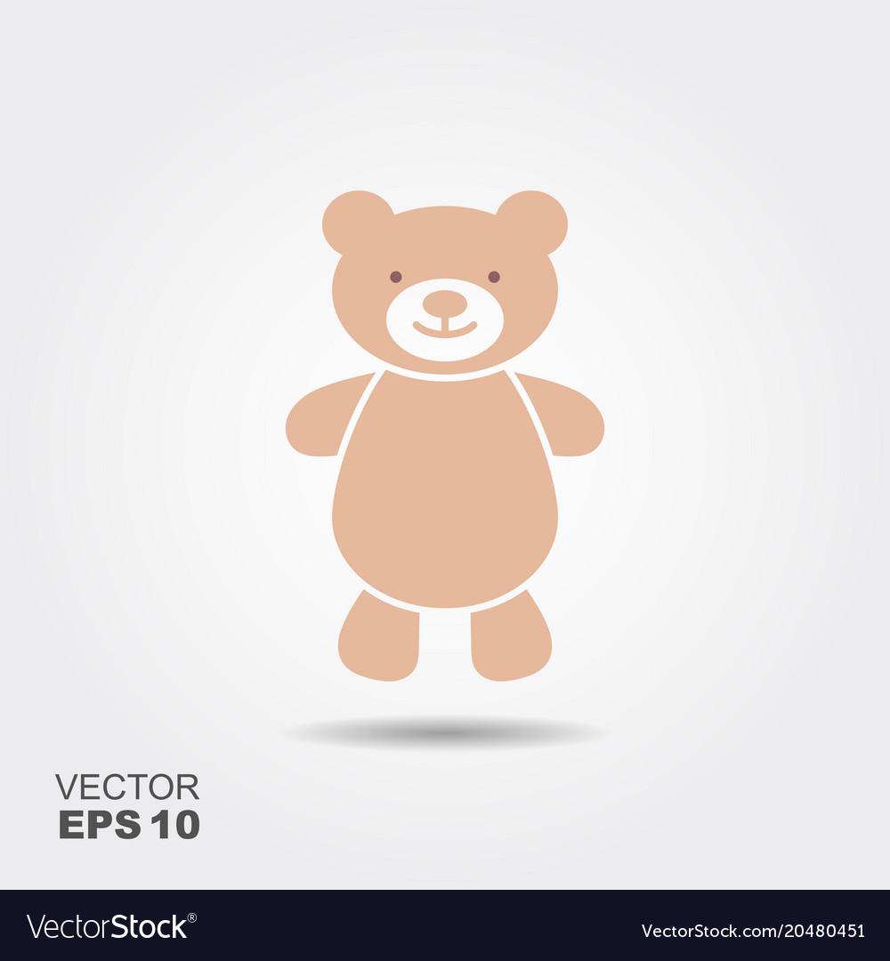Soft toy teddy bear flat icon