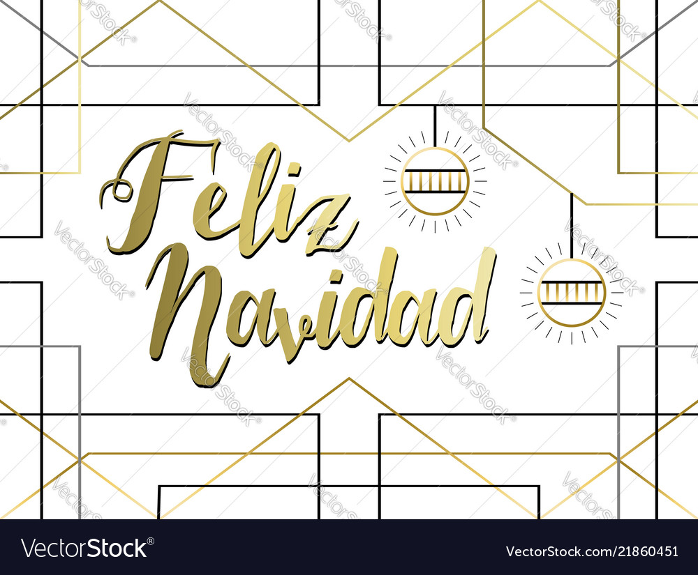 Spanish christmas greeting card in gold line art vector image m4hsunfo