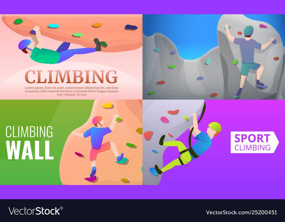 Sport climbing banner set cartoon style