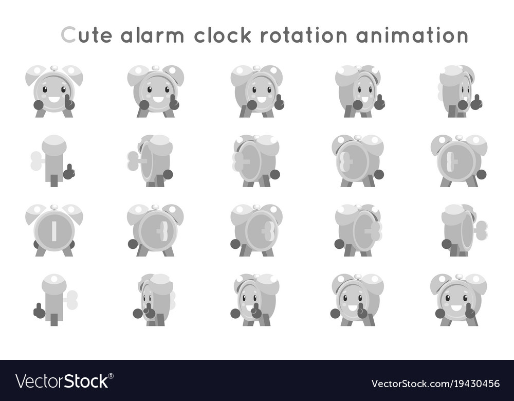 Alarm clock cute child ticker kid character icons vector image