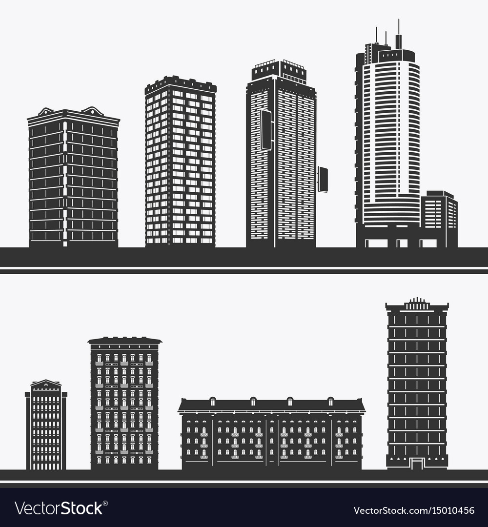 Building and skyscrapers silhouette set
