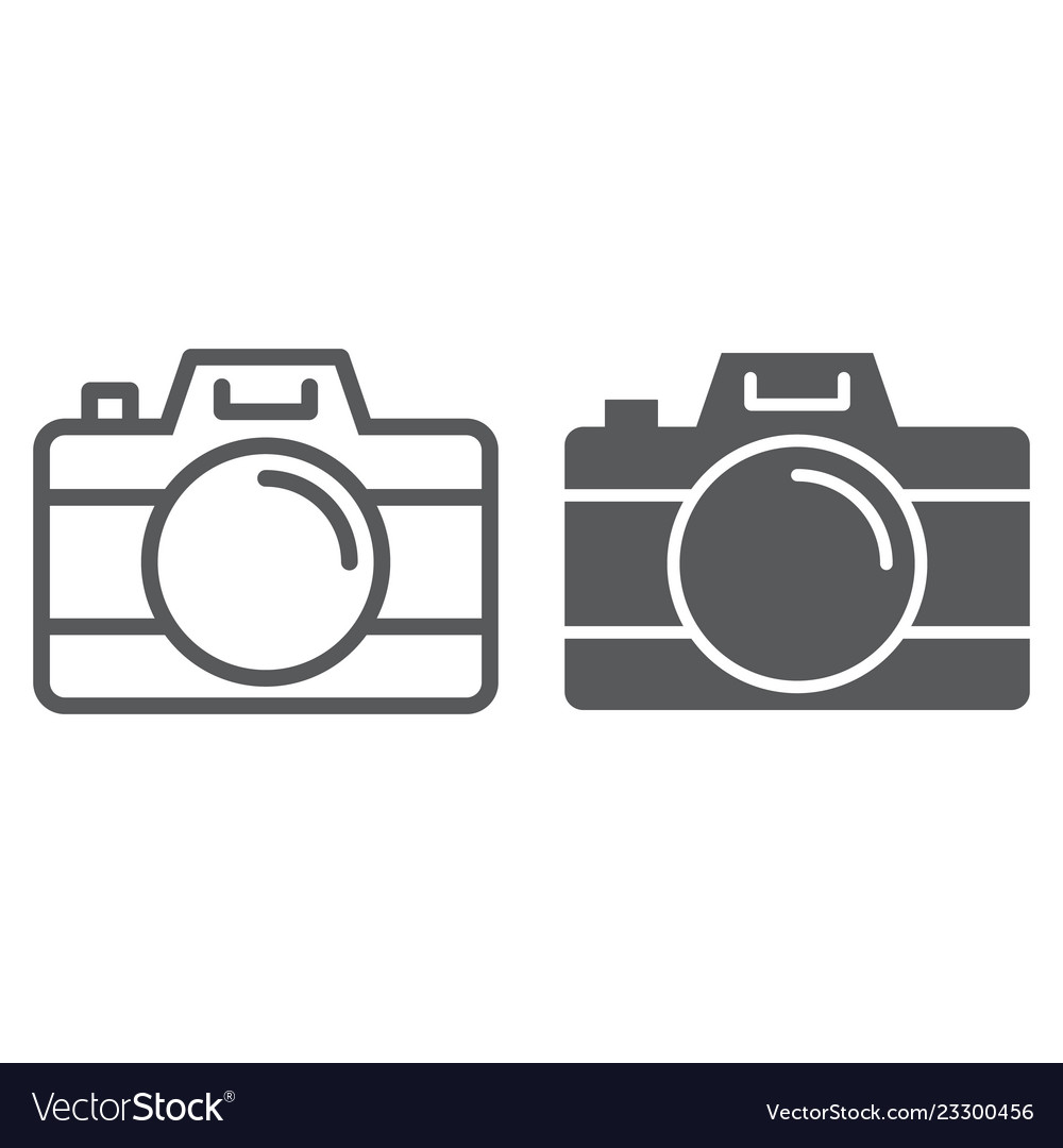 Camera line and glyph icon travel and tourism