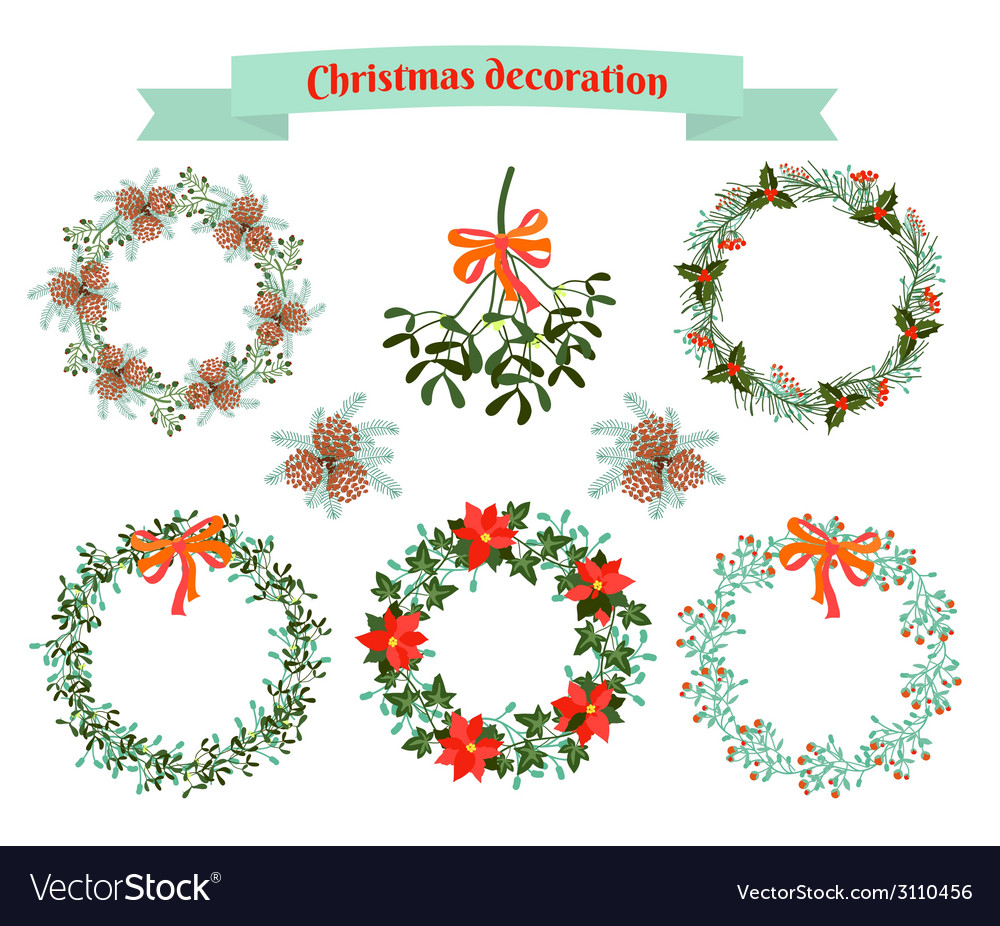 Christmas decoration set of elements