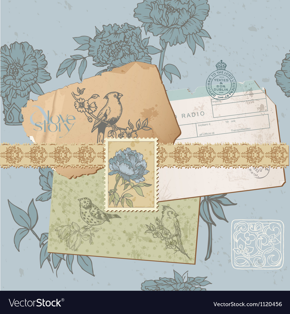 Design elements - Vintage Bird and Peony Set vector image