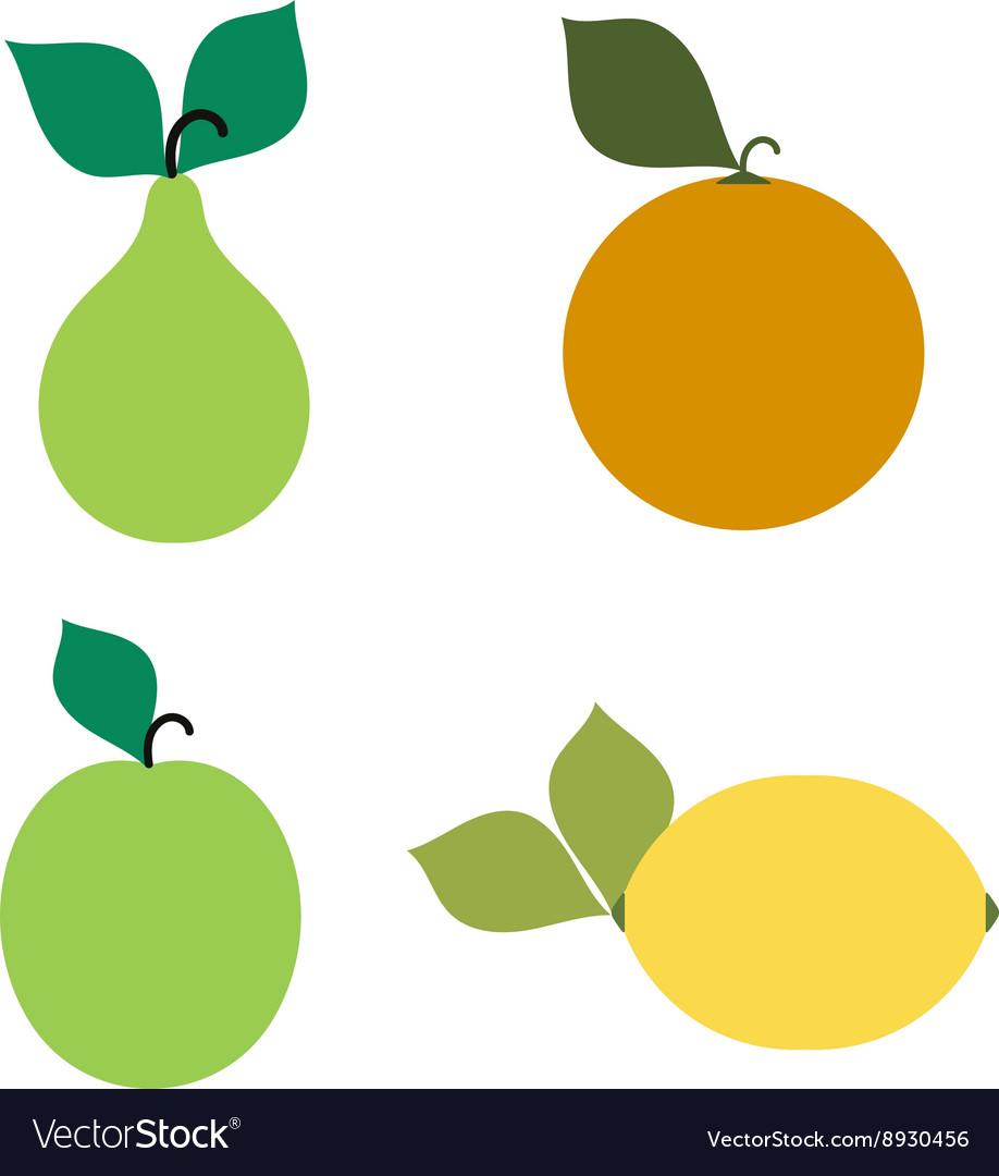 Emblems of a pear apple orange lemon