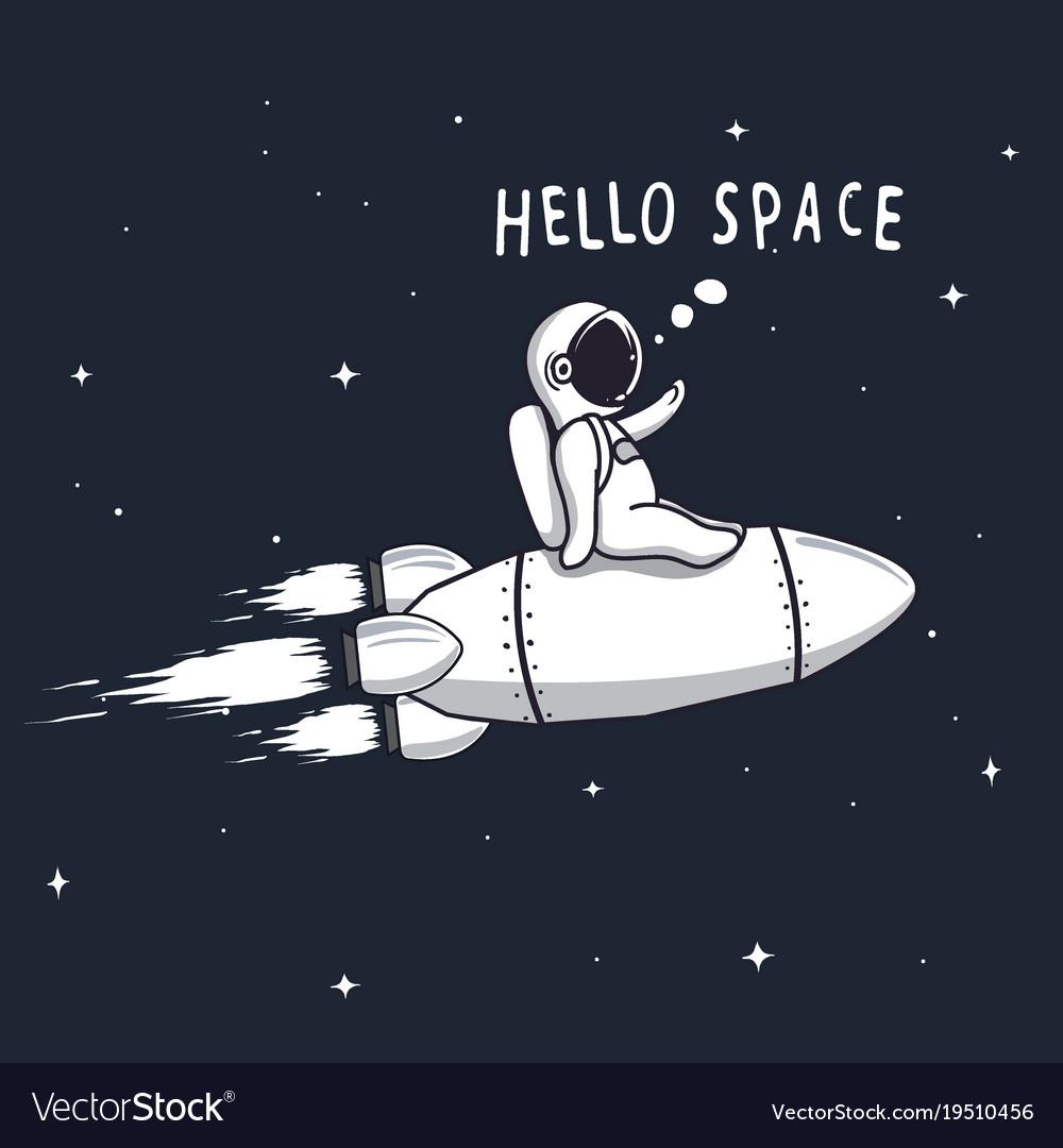 Funny astronaut flying on rocket