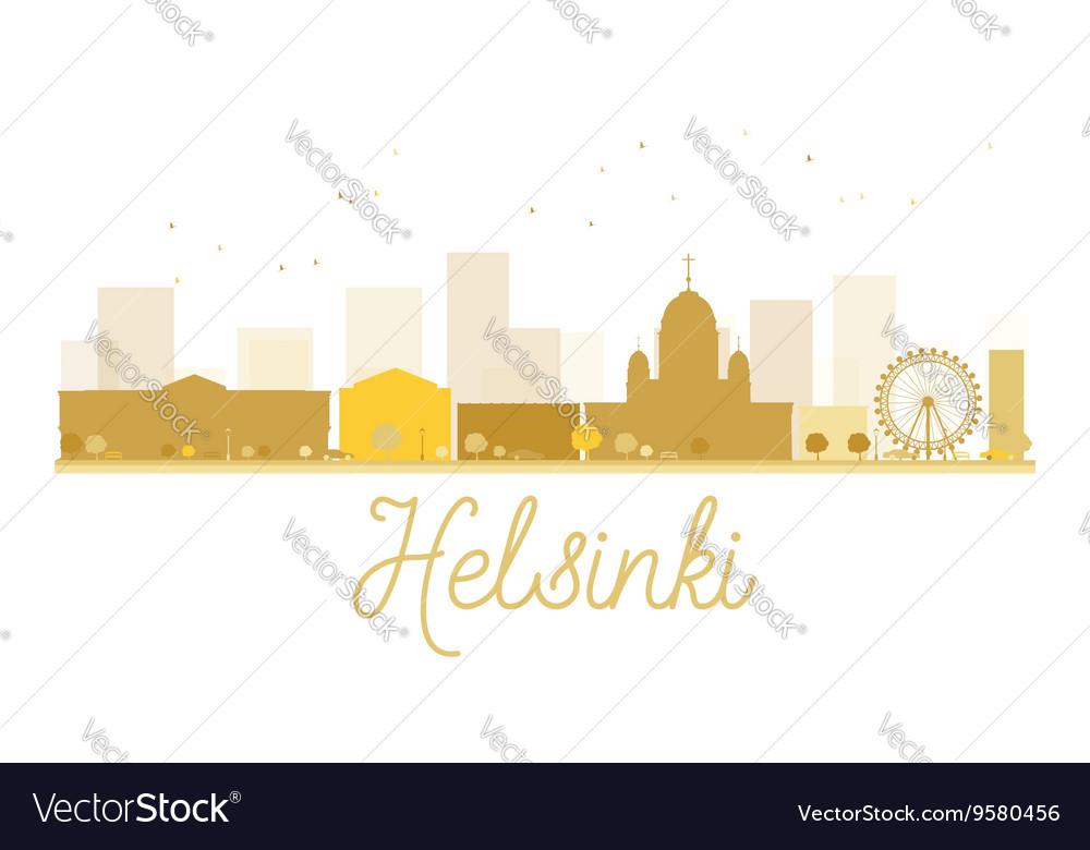 Helsinki City skyline golden silhouette