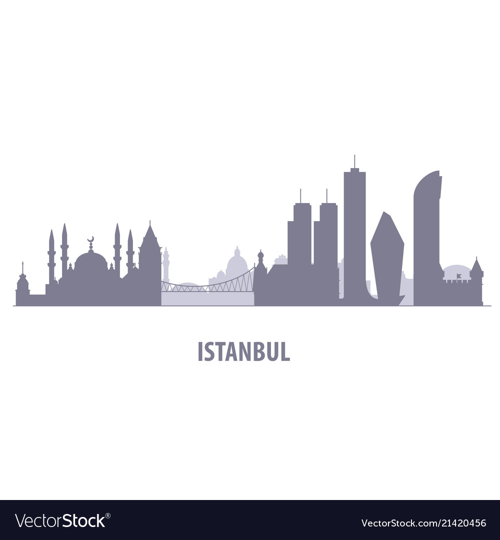 Istanbul cityscape - silhouette of skyline of